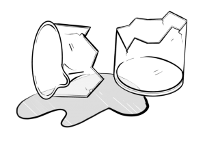 drawing of broken glass