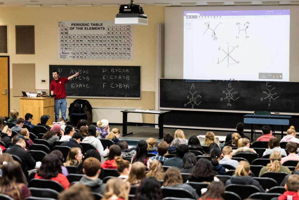 Matt Bowman teaches a class at UW-Madison.