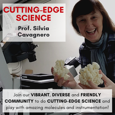 Cutting-Edge Science Prof. Silvia Cavagnero Join our VIBRANT, DIVERSE and FRIENDLY COMMUNITY to do CUTTING-EDGE SCIENCE and play with amazing molecules and instrumentation!