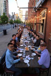 group of people eating dinner