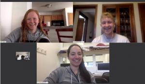 three people in a virtual meeting