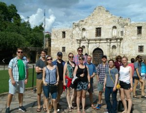 Group of people in front of the Alamo