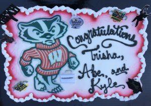 congratulatory cake with a badger