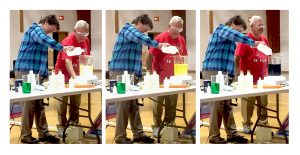 Triptych of two men doing an experiment on a table