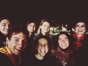 group of people on a ghost tour